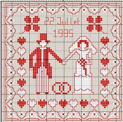 amour - love - mariés - point de croix - cross stitch - Blog : http://broderiemimie44.canalblog.com/