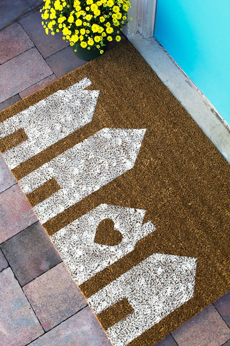 Rubber floor mat paint - 6 Diy Welcome Mats To Give Your Porch Some Pep