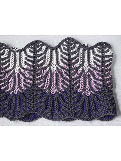 Lilac Vines Cowl Knit Pattern. Another view brioche