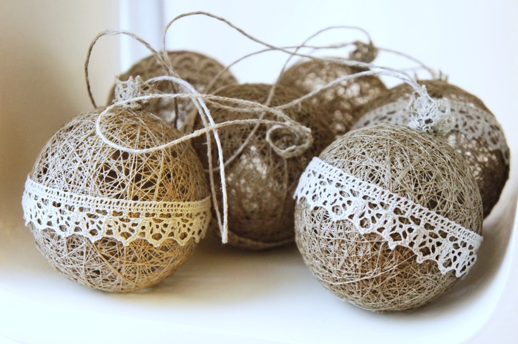 Natural linen Christmas ornaments Gift wrapped in the box with clear top. €7.00, via Etsy.