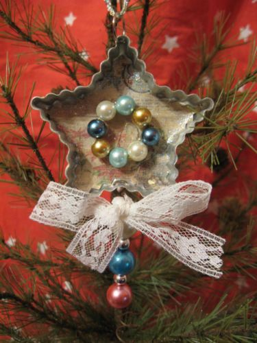 Primitive Christmas Ornament Vintage Tin Cookie Cutter Star