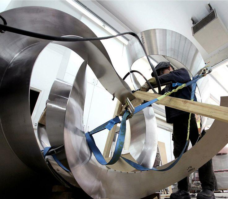KORBAN/FLAUBERT: travelling lines...IN A SILENT WAY, stainless steel sculpture in our metal workshop