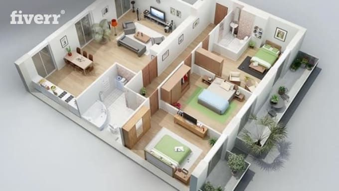 For Only 5 Surrayashabbir Will Awsome 2d Floor Plan 3d Floor Plan Fastest I Can Design And Render Ex 3d House Plans My House Plans House Construction Plan