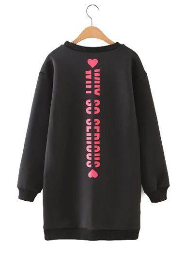Black Long Sleeve Round Neck Heart Print Sweatshirt