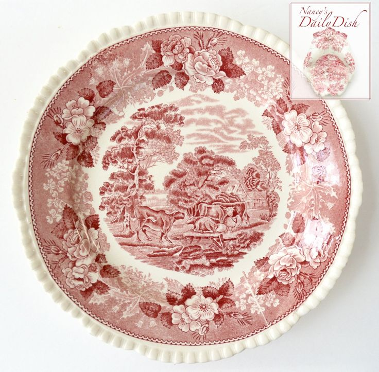Farmhouse Scenery Grazing Sheep & Cows / Cattle Red Transferware Dinner Plate