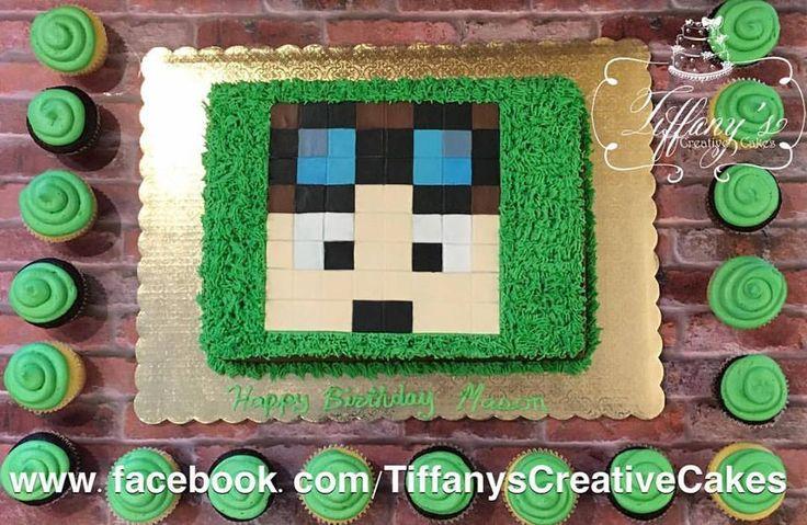 Minecraft sheet cake & cupcakes  Springboro Ohio Tiffany's Creative Cakes