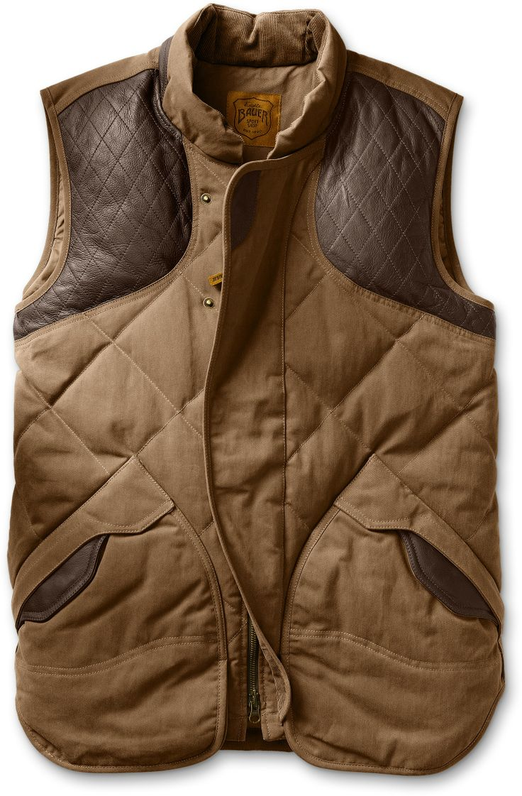 1936 Skyliner Hunting Model Expedition Cloth® Vest | Made from tough seven-ounce expediton cloth and reinforced with cowhide overlays, our field-rated remake of the original down jacket that built the Eddie Bauer brand provides reliable warmth in cold conditions.