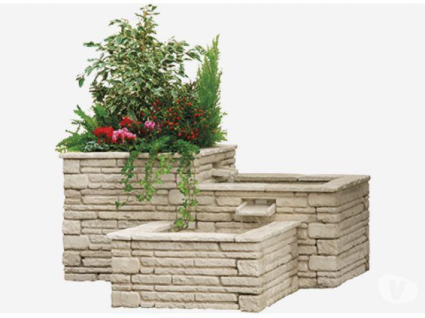 Fontaine jardiniere 3 bacs en pierre reconstituee …