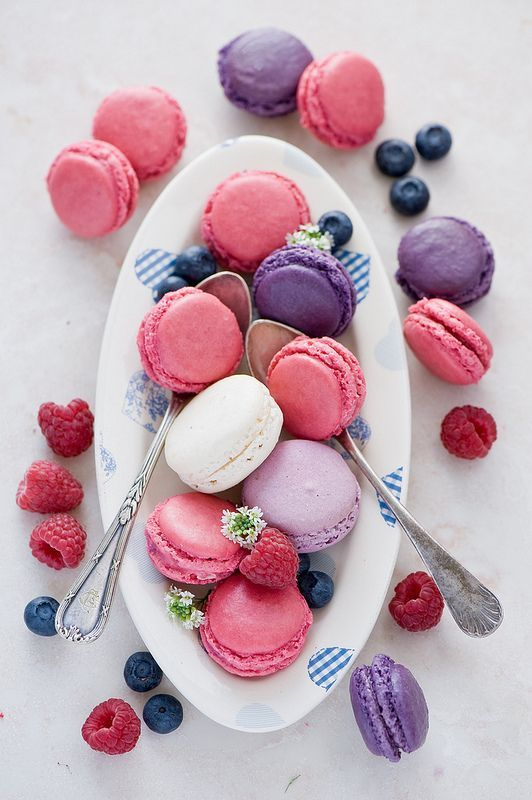 Strawberry and blueberry macarons