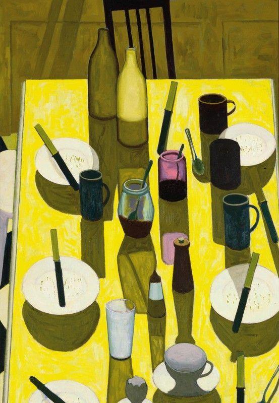 """John Brack, The Breakfast Table, 1958  pour que tous les jours, je puisse """"saisir le moment présent"""" sans avoir à instagrammer ma vie, voici une toile qui évoque un de mes moments préférés de la vie qui se répète sans cesse."""
