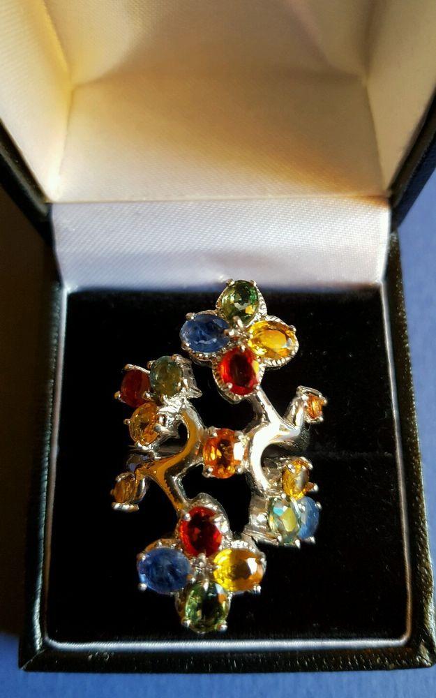 ❤JAYNES GEMS  8CT SONGEA MULTI COLOUR SAPPHIRE 14CT W GOLD/925 SIZE N- 6.5 in Jewellery & Watches, Fine Jewellery, Fine Rings   eBay!