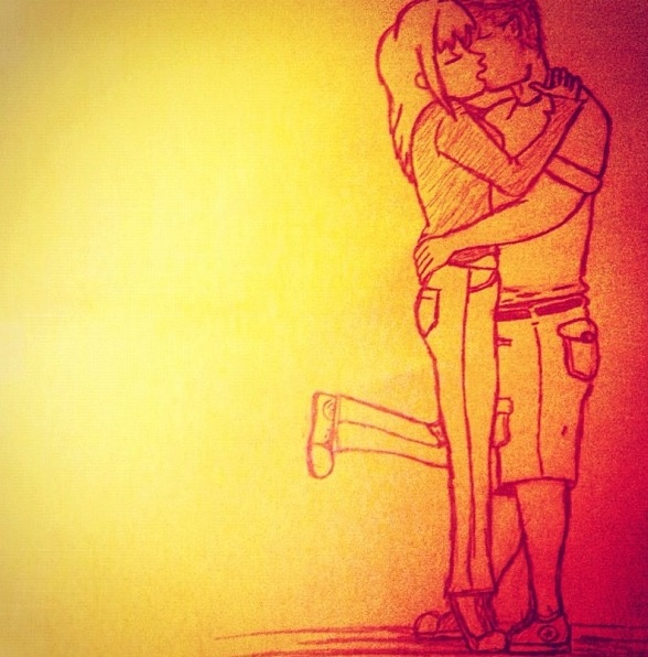 Boy girl kiss drawing | Drawings of mine! | Pinterest