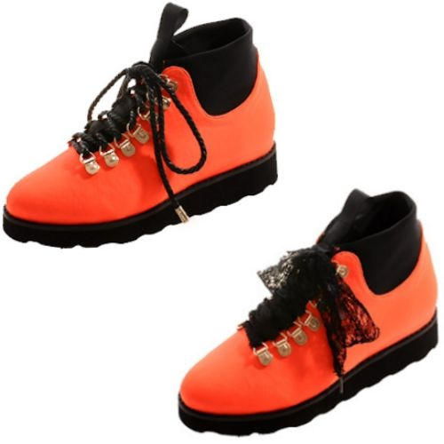 Orange Lace Up Casual Party High Tops Shoes for Women SKU-1090673
