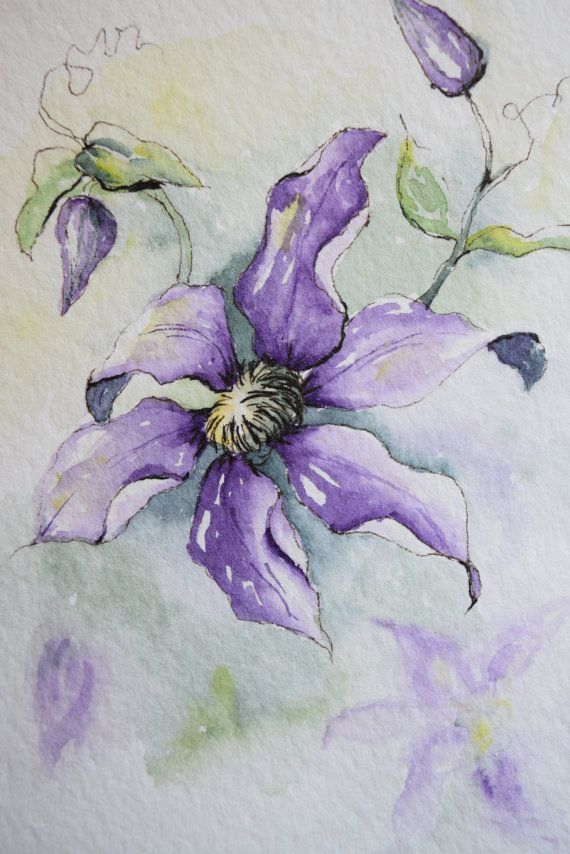 Pretty purple climbing clematis. Original only  Original only! This is a hand-painted watercolor greeting card on 140 lbs. acid free, Strathmore