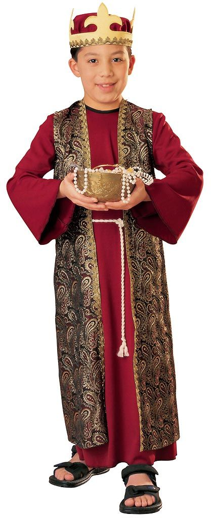 Recreate the Christmas nativity as a Wiseman of the East in our Deluxe Gaspar Kids Costume. The Christmas carol will come to life when boys transform into the biblical Arabian king of the Orient. Our kids Deluxe Gaspar Costume includes a dark red tunic with an attached metallic brocade robe and attached rope belt cord and a matching crown headpiece. Retell the bible story of the Three Kings and Wisemen. Follow the star at the next Christmas pageant to bear gifts to baby Jesus in our Deluxe…