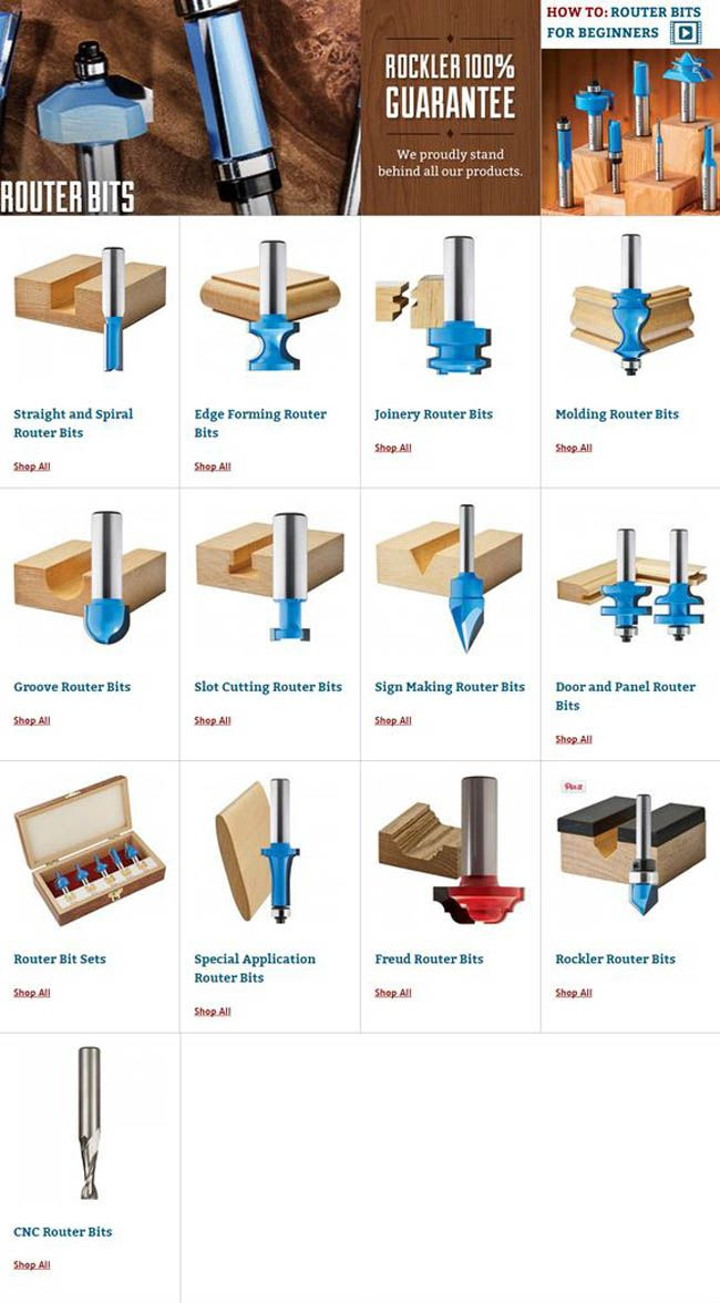 ROUTER BITS  http://www.rockler.com/power-tool-accessories/router-bits
