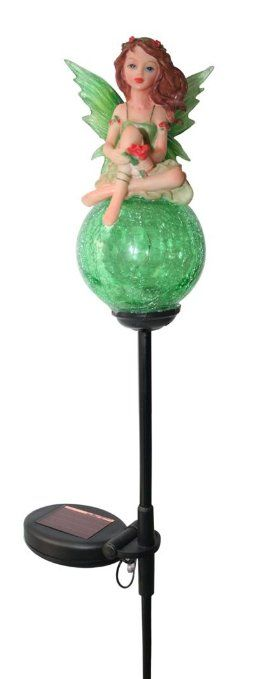 Solar Wholesale Tinkerbell Crackle Glass Ball Garden Decor Lights (Red Color)