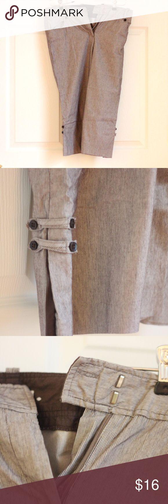 Brown DRESS BARN striped capri pants - size 10 | Dress ...