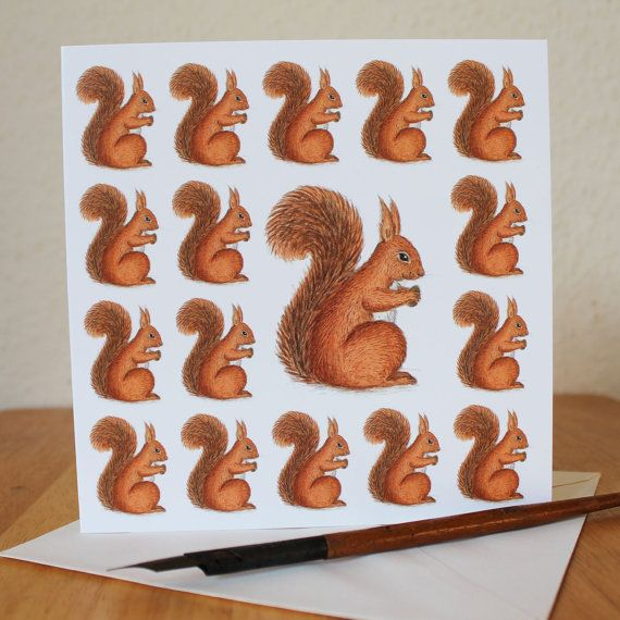 Red Squirrel Card Red Squirrel Blank Square by RieDesigned on Etsy