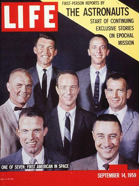 Shepard, Glenn, Slayton, Grissom, Schirra, Cooper, Carpenter. The nation's first astronauts: the Mercury 7