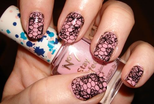 Manicure lake lace: Black Lace, Nails Art Ideas, Nailart, Nails Design, Pink Nails, Nails Ideas, Nails Polish, Lace Nails Art, Nails Art Design