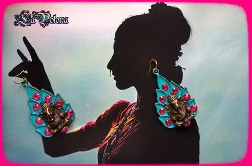 GANÉSHA Earrings, dangle Boho big brass Indian style shiny Gipsy earrings, Hot Pink Turquoise, brass with strass, Bollywood style earrings