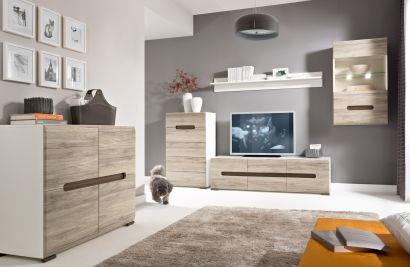 Obývacia izba - BRW - Azteca 3 Moderný obývací set v prírodných drevených farbách.