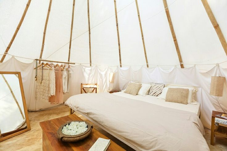 Teepee tent hotel room in South Goa, India. La Mangrove Goa - Chic Tipis & River Lounge. #boho #travel #deco www.lamangrovegoa.com
