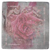 Pink Rose Marble Stone Coaster $9.95