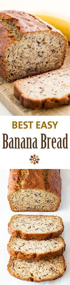 Easiest banana bread ever! No need for a mixer! Delicious and easy, classic banana bread recipe.