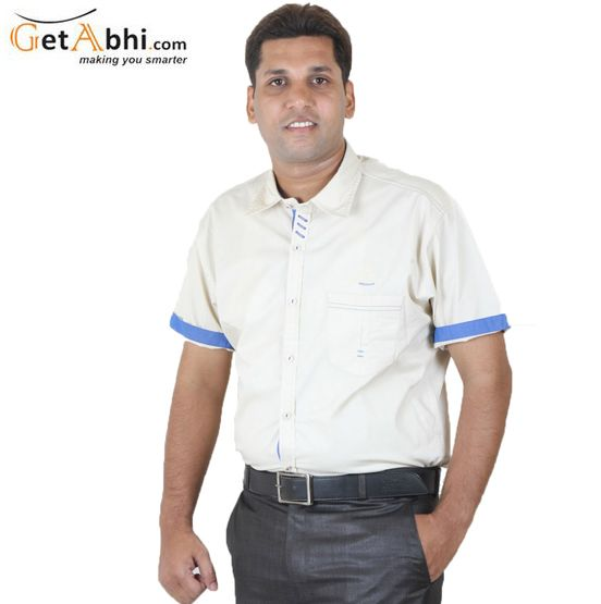 Ruffle your stuff as you wear this Cream/Blue Half Sleeves #Casual #Shirt from the house of Ignu, this slim-fit shirt ascertains Airy comfort all day long too.Featuring slim fit, this club wear shirt is an ideal pick!