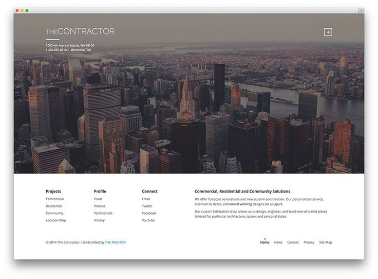The Contractor is a WordPress theme built specifically for construction companies and architecture firms, but we see it working for other creative industries as well. This theme utilizes built-in features of WordPress, making it really easy to use.