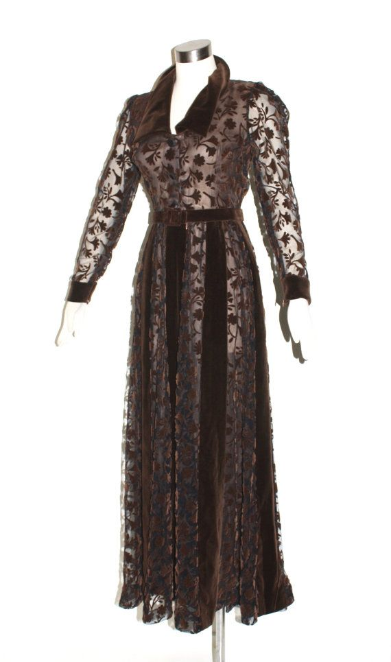 GIVENCHY COUTURE Vintage Velvet Burnout Gown Brown Sheer Full Length Dress…