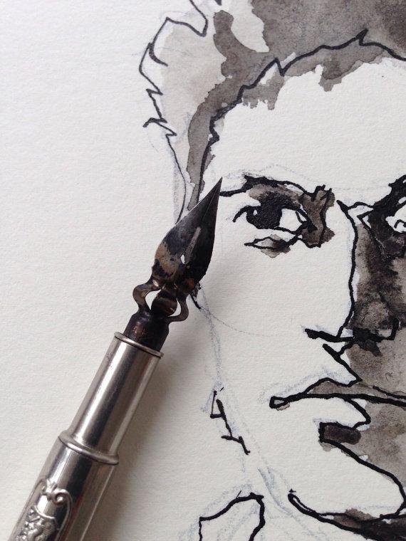 zwart-wit kunst, portret van een jonge man, waterverf, zwart wit, figuratieve, kunst, mannelijke portret, fijne muur kunst, schilderkunst, pen en inkt tekenen