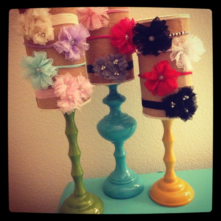Head band holder out of oatmeal containers Another cute idea for organizing headbands!