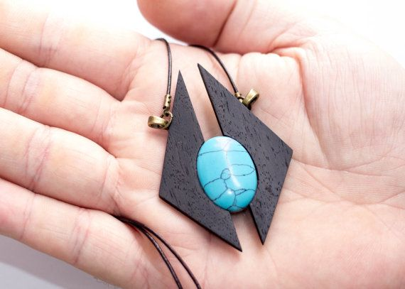 turquoise and ebony necklaceUNIQUE wooden pendant by BelleEbeneQC