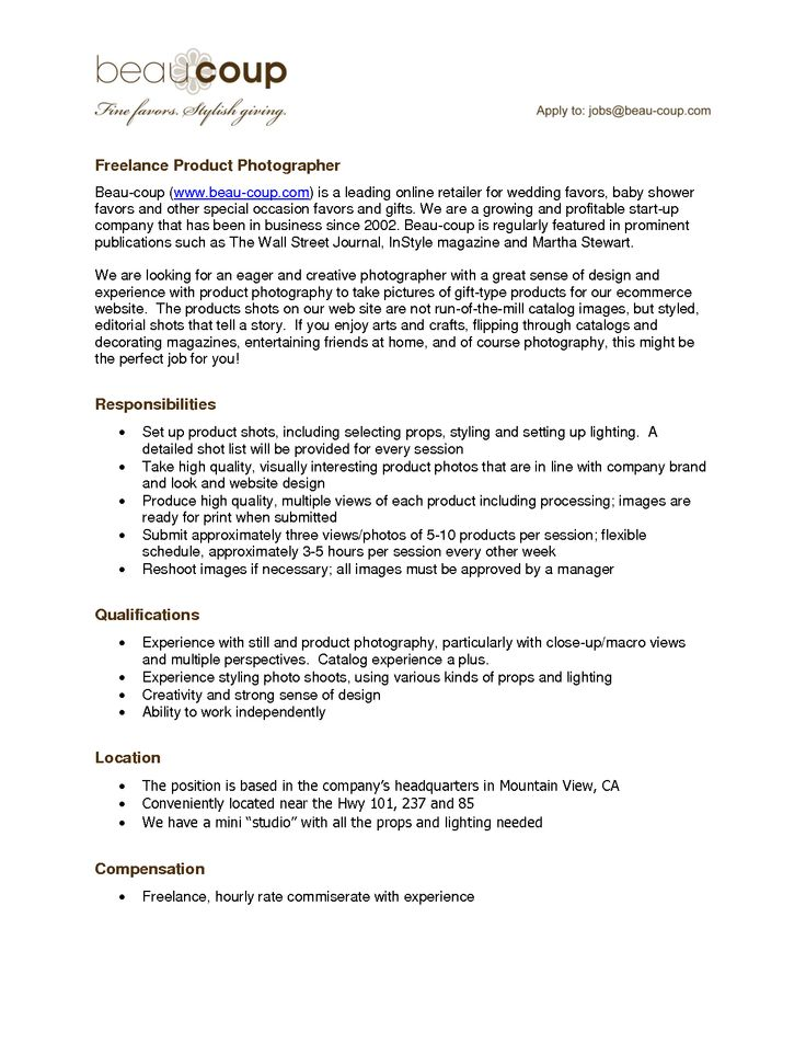 resume for a photographer  freelance photographer resume