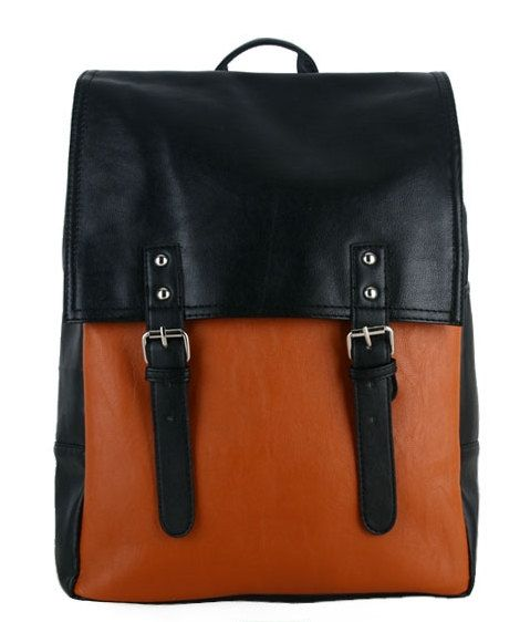 Square backpack/leather backpack/school backpack/book di PrettyBag, $31.00