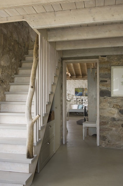 traditional staircase by Knickerbocker Group, love the wood branch/stump: Idea, Stairca Design, Stones Wall, Basements Design, Cottages, Under Stairs, Portland Maine, Eclectic Stairca, Rustic Home