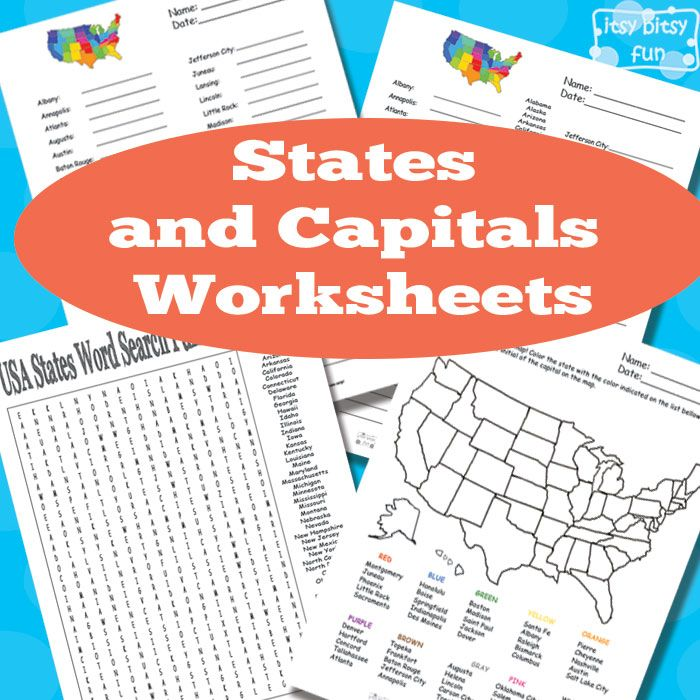 Itsy Bitsy Fun has  FREE States and Capitals worksheets. This pack includes word search, fill in the blanks, and more.  Click here fo