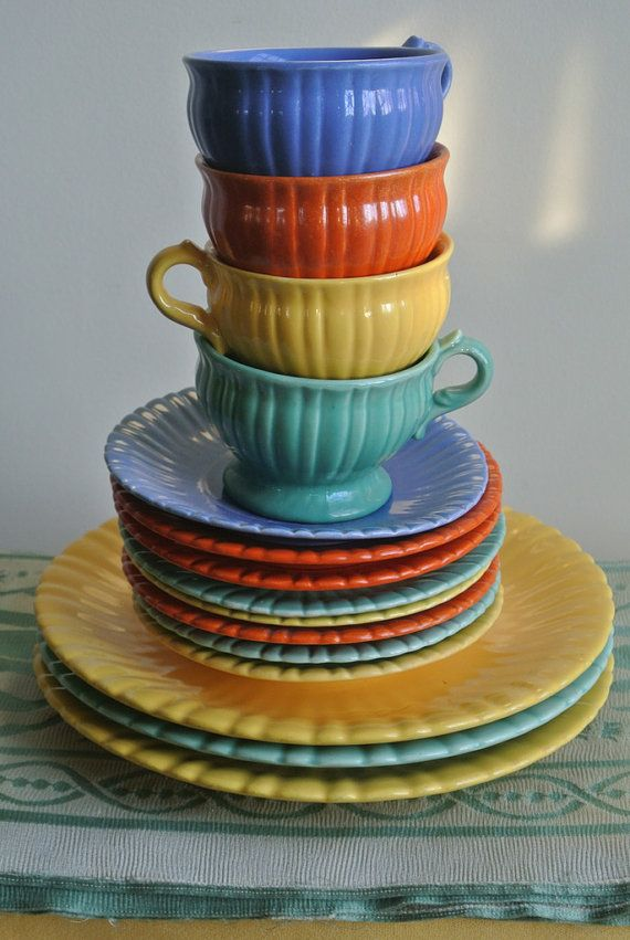 Colorful Dish Set by Stangl Pottery Art Deco Nouveau Pottery Vintage Pottery 1930s Collectible Dishes & 239 best Stangl Pottery images on Pinterest | Dishes Dish and ...