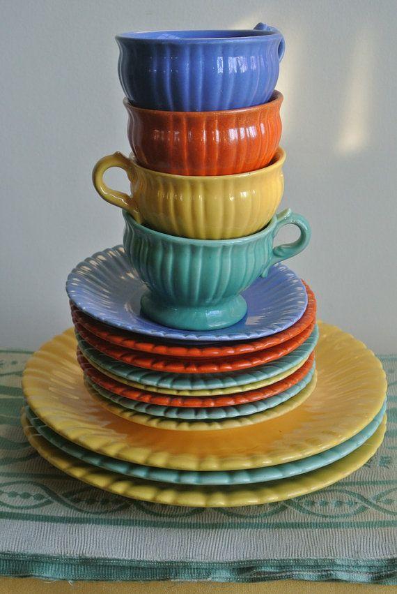 Applying 16 Bright Kitchen Paint Colors: Colorful Dish Set By Stangl Pottery Art Deco Nouveau