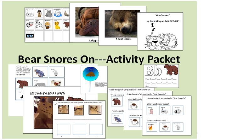 chapel hill snippets bear snores on activity packet for speech special ed collaboration. Black Bedroom Furniture Sets. Home Design Ideas