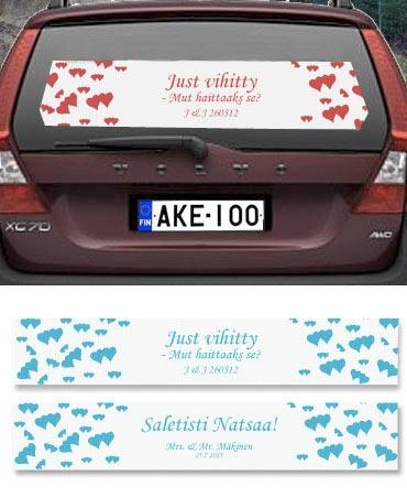 Nimikyltti hääautoon ihan omalla tekstillä. www.nowandforever.fi