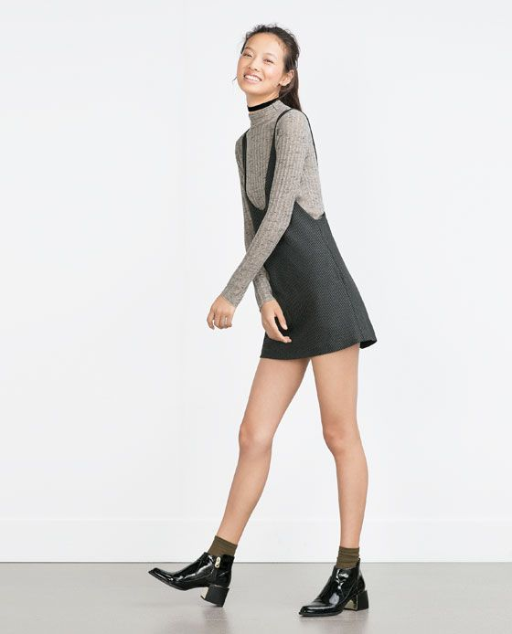 Image 1 of HOUNDSTOOTH PINAFORE DRESS from Zara