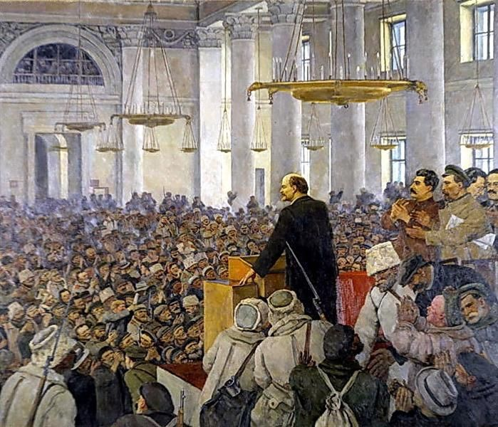 The first speech of Vladimir Lenin in the Smolny. Late version of the picture in 1927, 1935 by Konstantin Yuon. Socialist Realism. history painting