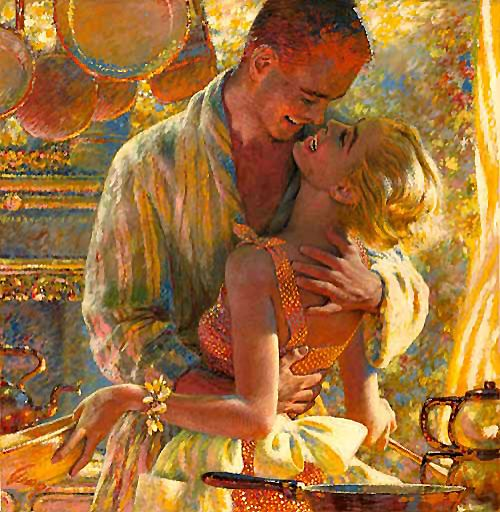 The cook is about to get kissed. This painting illustrates one of the great secrets of marriage! Write this down: Never, Ever, pass up an opportunity to kiss your wife! This painting was in the Saturday Evening Post in July 1957, by Edwin Georgi.
