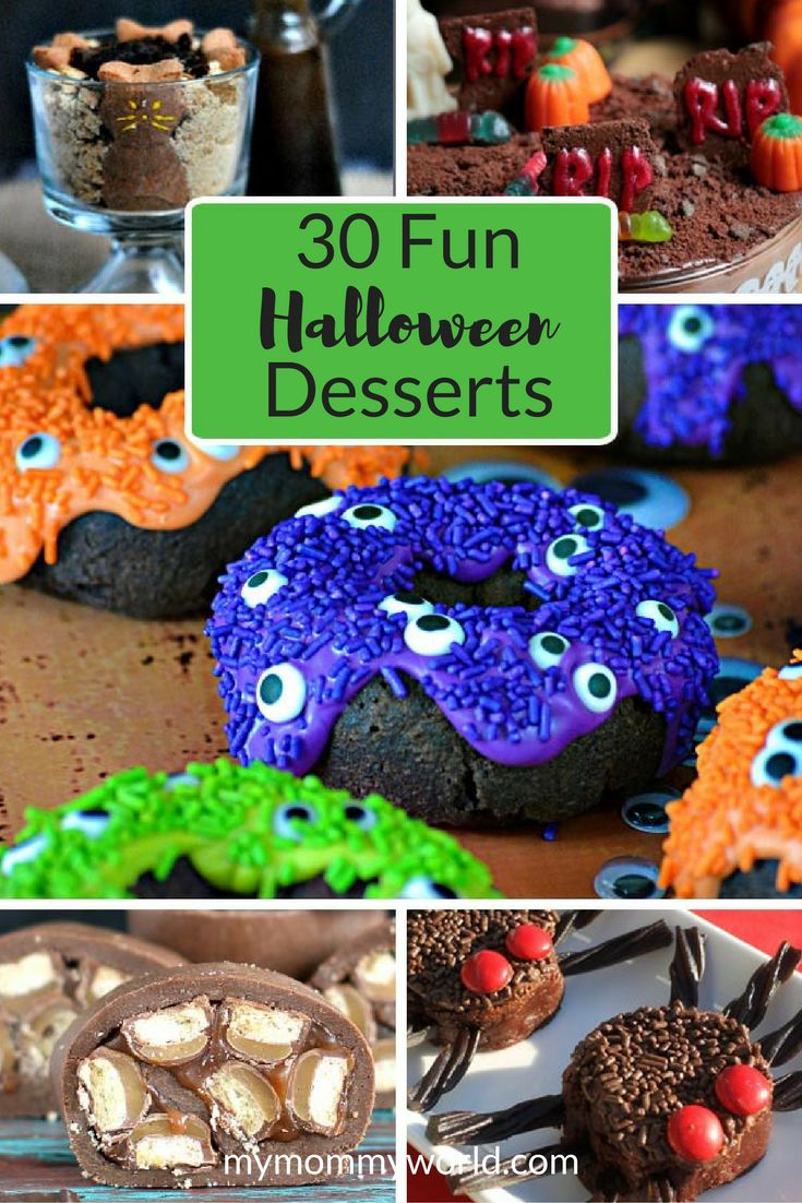 You'll be sure to find some easy recipe ideas for parties with this list of 30 fun Halloween desserts. Celebrate the holiday with both scary and cute Halloween desserts that your kids will love!