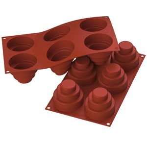 Silicone Mold Tiered Cake 6.0 Oz, 2.95 x 2.36 High, 6 Cavities