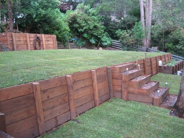 Best 25 Railroad tie retaining wall ideas on Pinterest Sloped